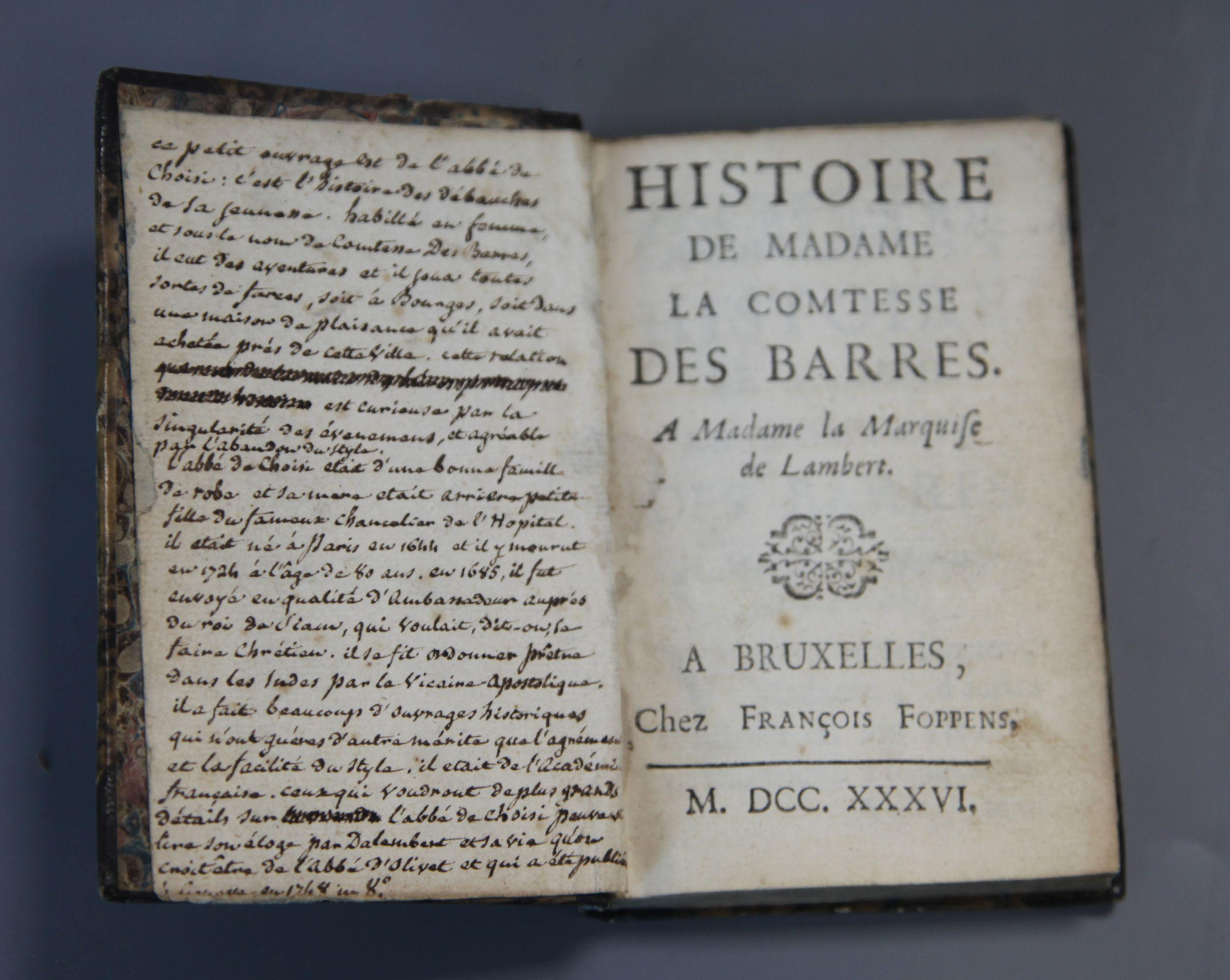 Lot 1A - Choisy, Francois-Timoléon de - Histoire de la Comtesse des Barres à Madame la Marquise de Lambert,