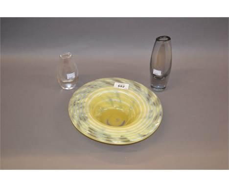 Swedish Flygsfors glass dish, signed Bellman, together with an Orrefors glass vase and a Kosta vase