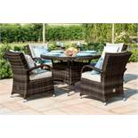 Rattan Texas 4 Seat Round Dining Set (Brown) **BRAND NEW**