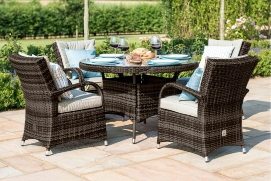 Lot 44 - Rattan Texas 4 Seat Round Dining Set (Brown) **BRAND NEW**