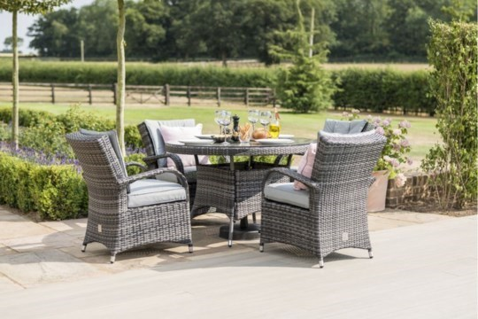 Lot 43 - Rattan Texas 4 Seat Round Dining Set (Grey) **BRAND NEW**