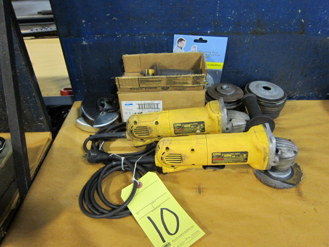"Lot 10 - ELECTRIC RIGHT ANGLE DISC GRINDER, DEWALT 4-1/2"" MDL. D28402"