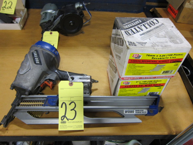 Lot 23 - PNEUMATIC NAIL GUN, DUO-FAST MDL. DF3505, w/nails