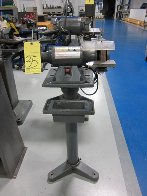 "Lot 35 - DOUBLE END PEDESTAL GRINDER, DAYTON 6"", 1/3 HP motor"