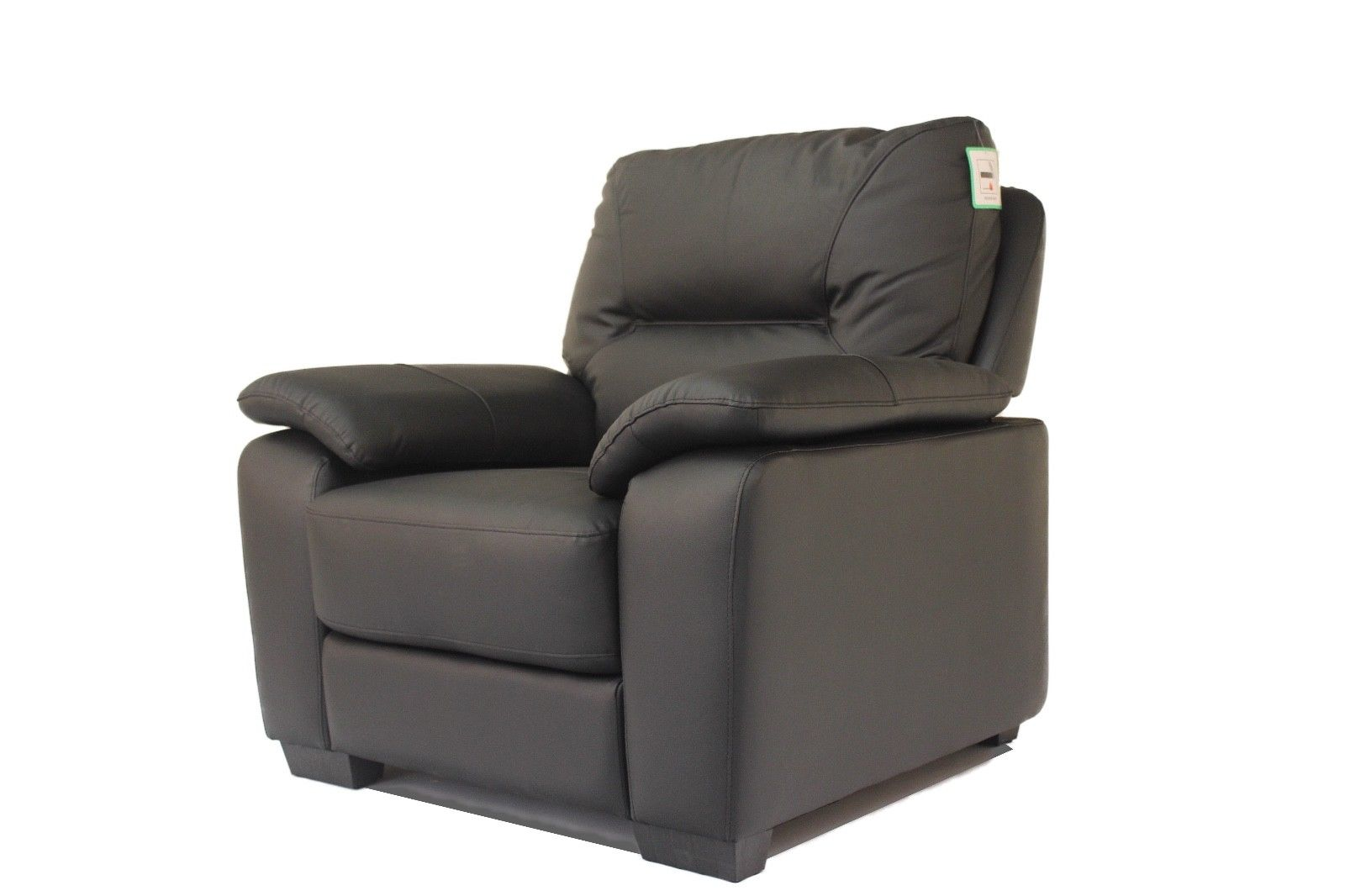 Lot 19 - Stamford BLACK Single Seat Real Leather Chair - No Reserve