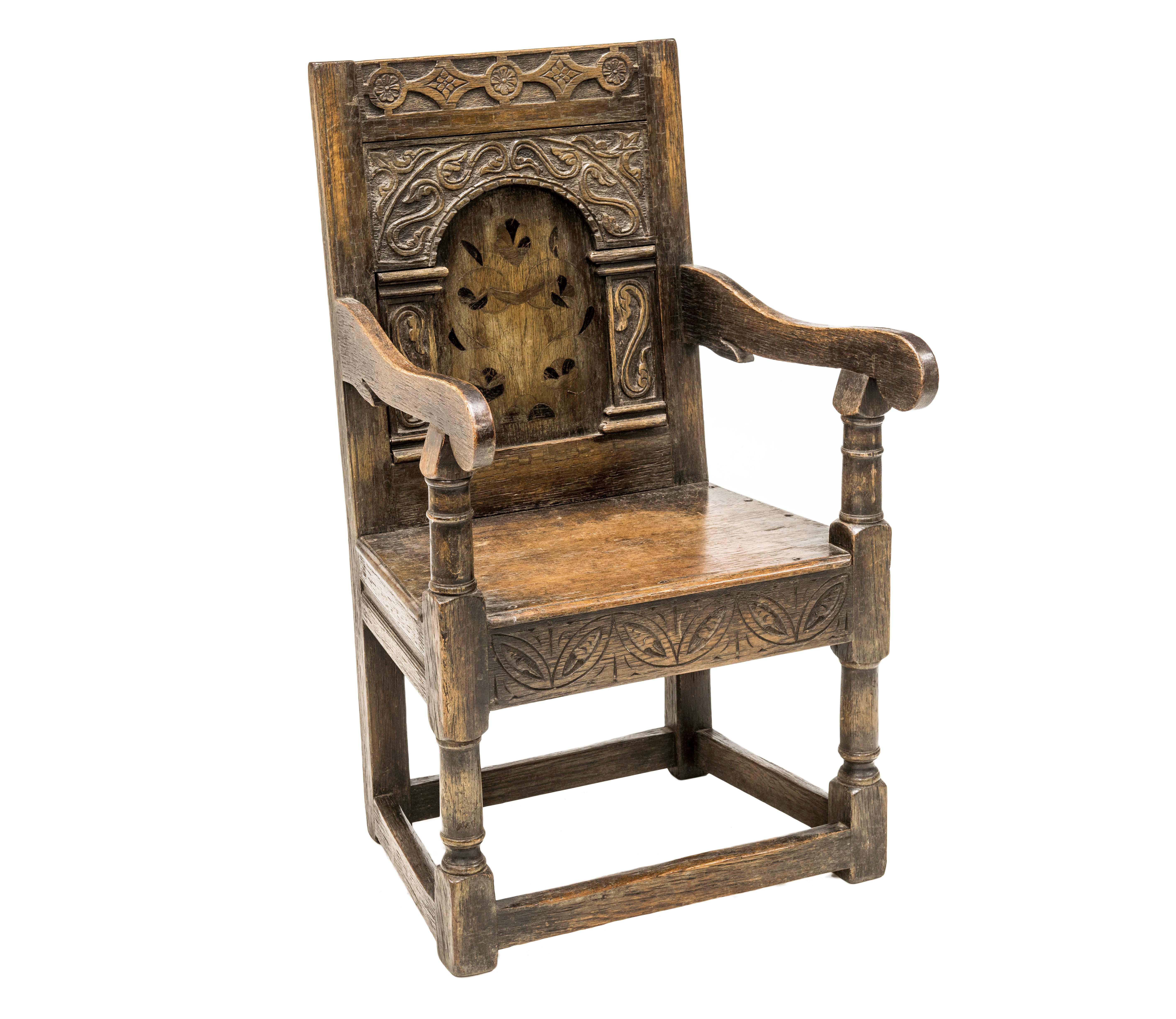 AN OAK WAINSCOT CHAIR IN 17th CENTURY STYLE, 19th Century