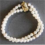 Perlenarmband zweireihig Gold 585er Verschluß mit Diamanten, NOS Länge 19,5 cm, Durchmesser Perle