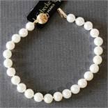 Perlenarmband einreihig Gold 585er Verschluß, NOS Akoyaperle, Länge 19 cm, Durchmesser Perle 7 mm,