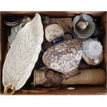 Antique Vintage Retro Box of Assorted China Glass Treen Pottery & More