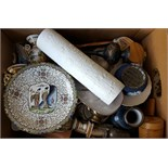 Vintage Retro Box of Ceramics Treen & Glass Includes Studio Pottery NO RESERVE