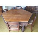 Antique Vintage Hexagonal Oak Dining Table Bobbin Stretchers & Four Chairs