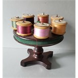 Antique Vintage Wood Turntable Cotton Reel Holder & 3 Boxes