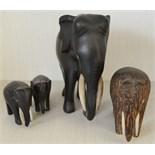Vintage Retro Parcel of 4 Wooden Elephant Figures NO RESERVE