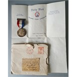 Vintage Royal Mail Teddy Tail League George V Silver Jubilee Medal & Paperwork 1935