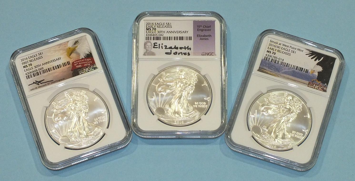 Lot 193 - Three 2016 1oz fine silver American Eagle One-Dollar coins, all MS70, one with Elizabeth Jones