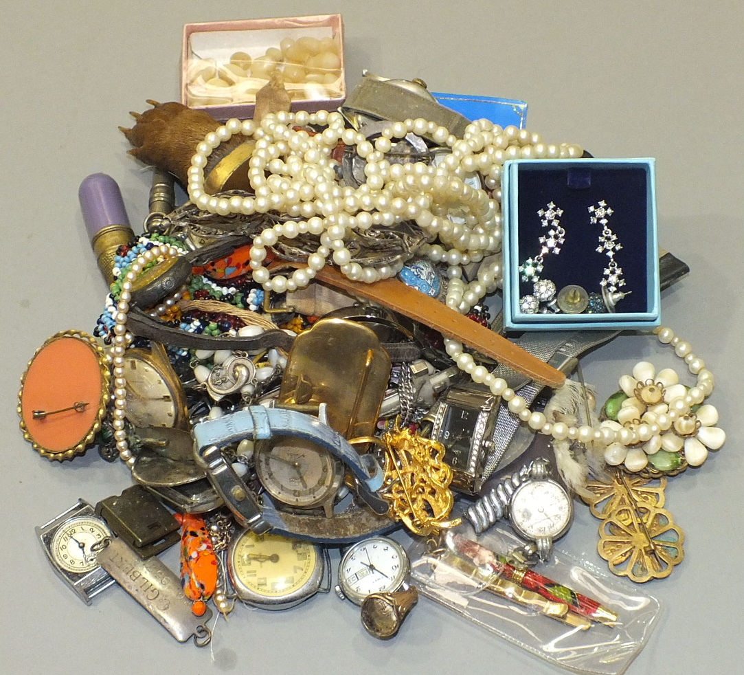 Lot 230 - A collection of costume jewellery, wrist watches, etc.