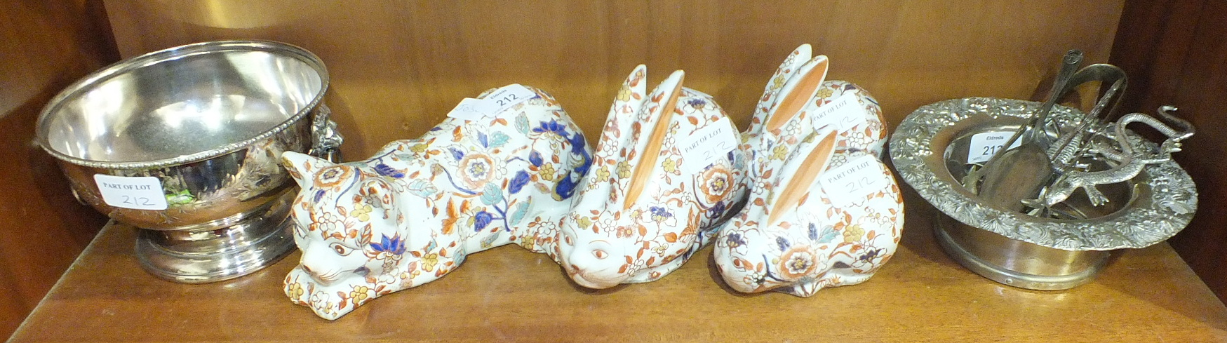 Lot 212 - A reproduction Chinese Imari decorated cat, three similar rabbits and other items.