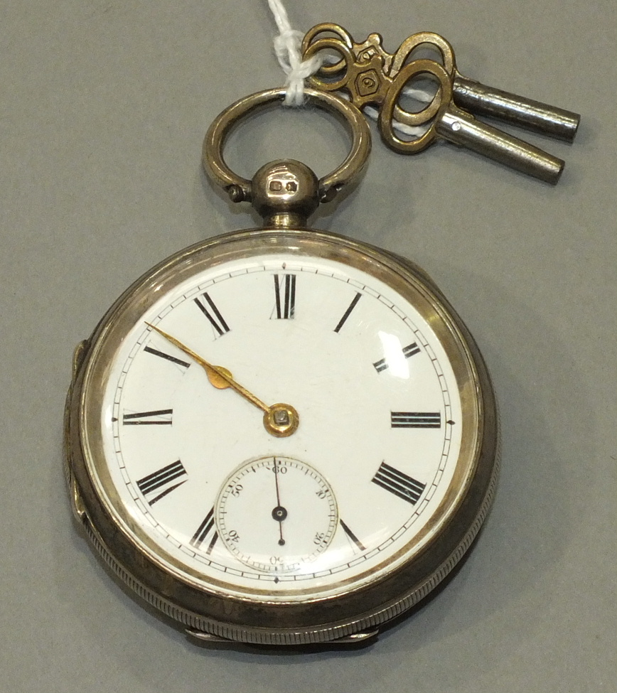 Lot 221 - A Late-Victorian silver-cased key-wind pocket watch with white enamel dial, Roman numerals and