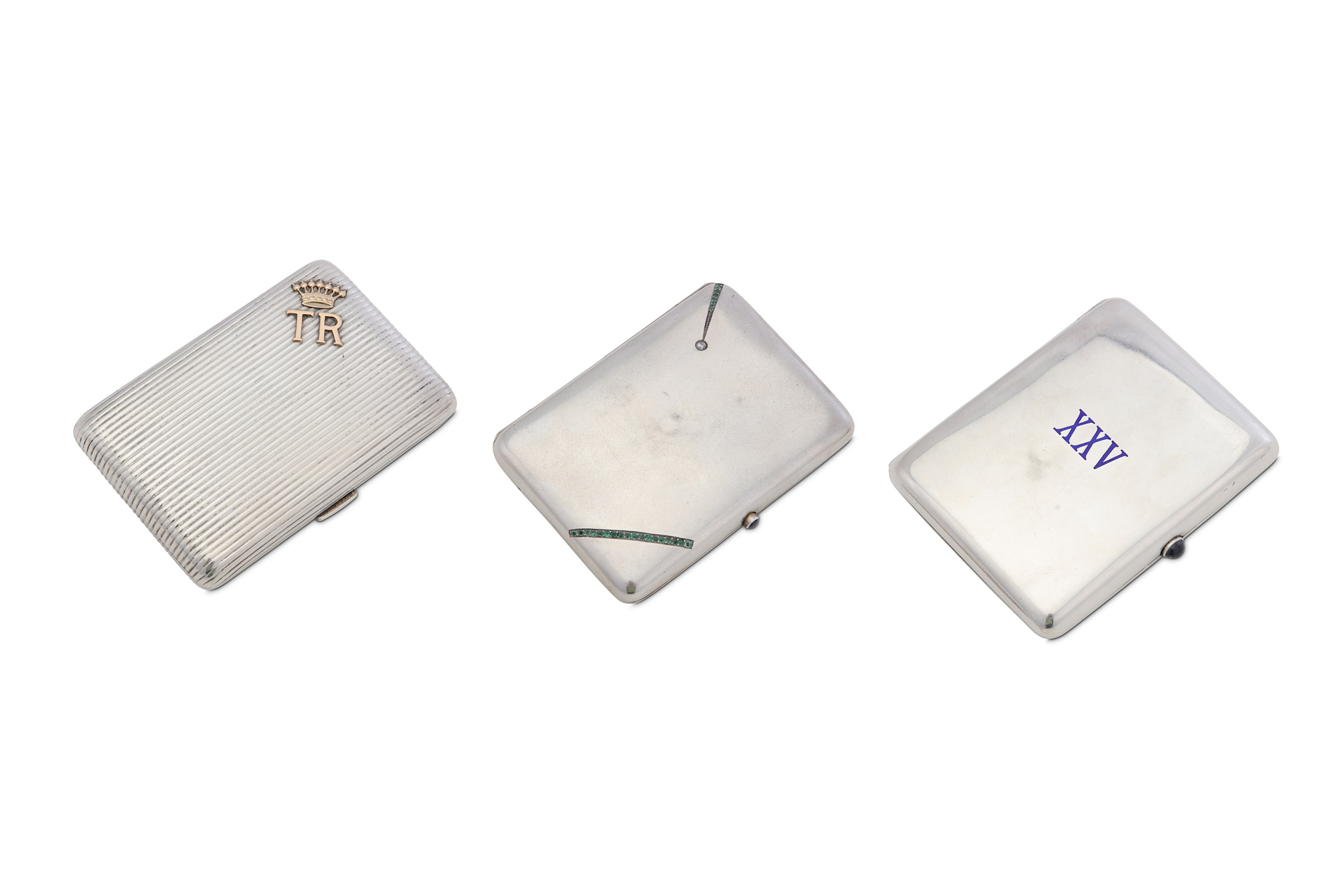 Lot 19 - A group of three Austrian silver cigarette cases, including an early 20th century reeded 800 standar