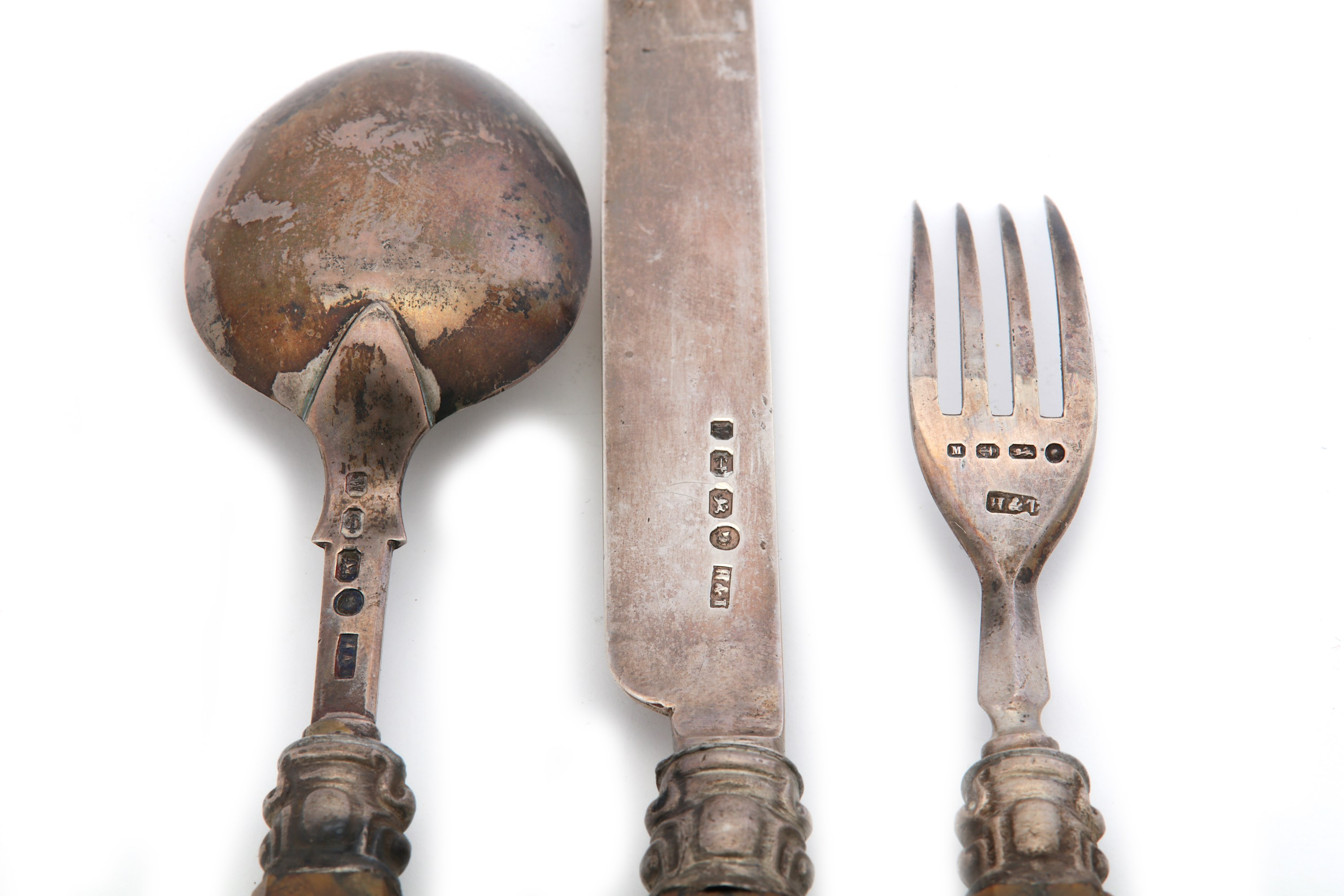 Lot 37 - An unusual Victorian travelling spoon, fork and knife set, jasper handled, Birmingham 1861 by Hillia