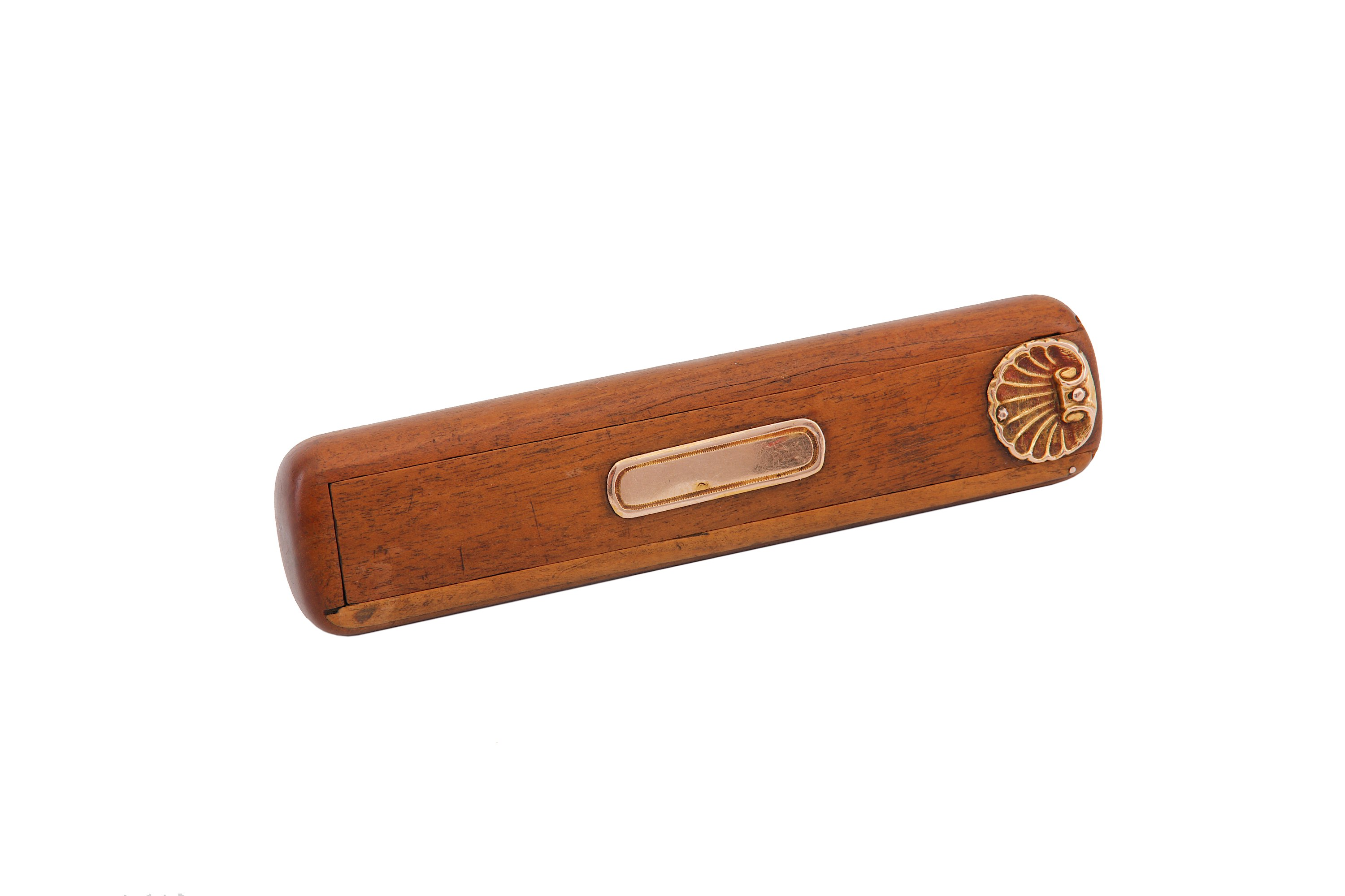 Lot 41 - A first half of 19th century French gold mounted fruitwood toothpick box, circa 1820-50