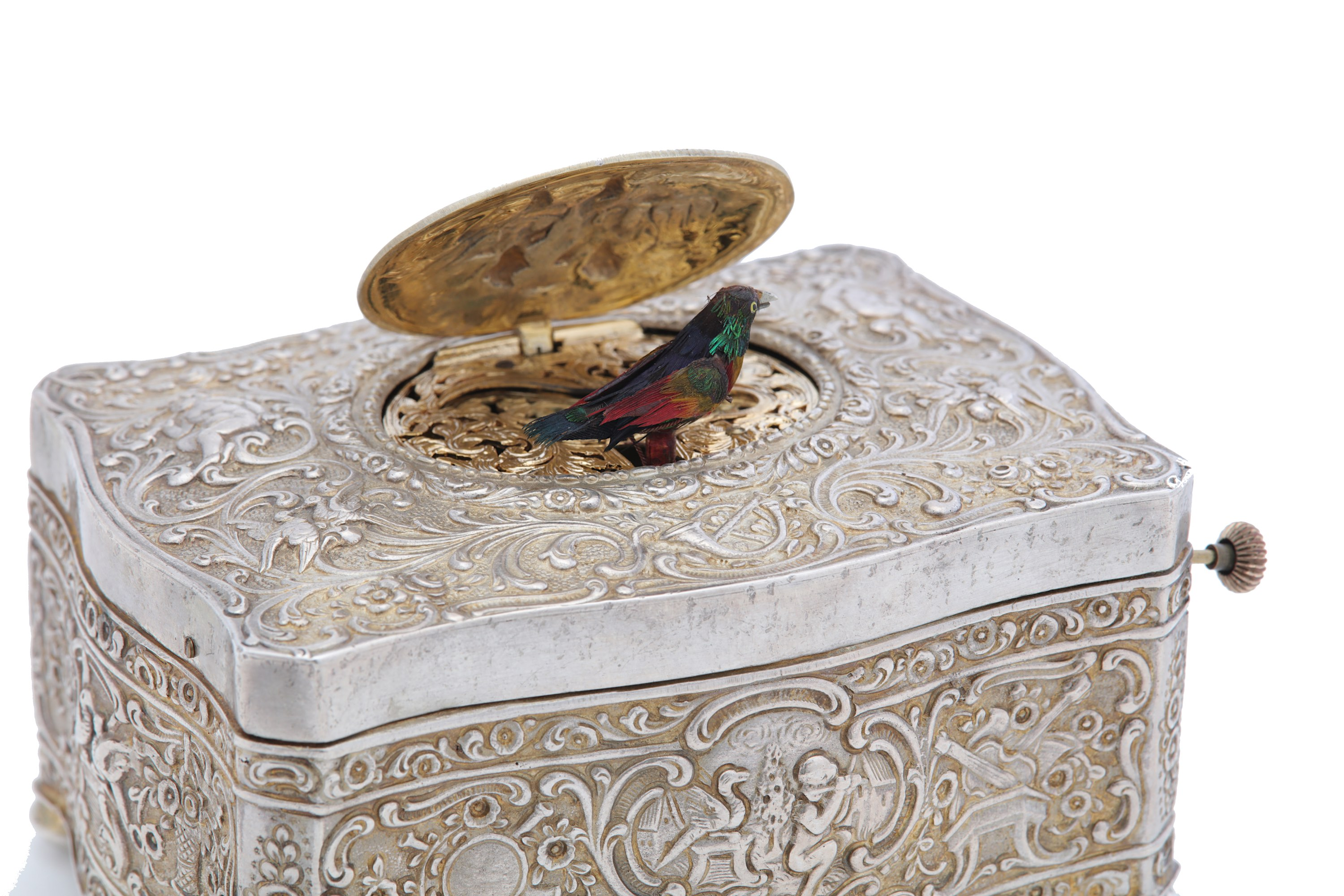Lot 27 - An early 20th century sterling silver-gilt singing bird box, by Karl Griesbaum circa 1930