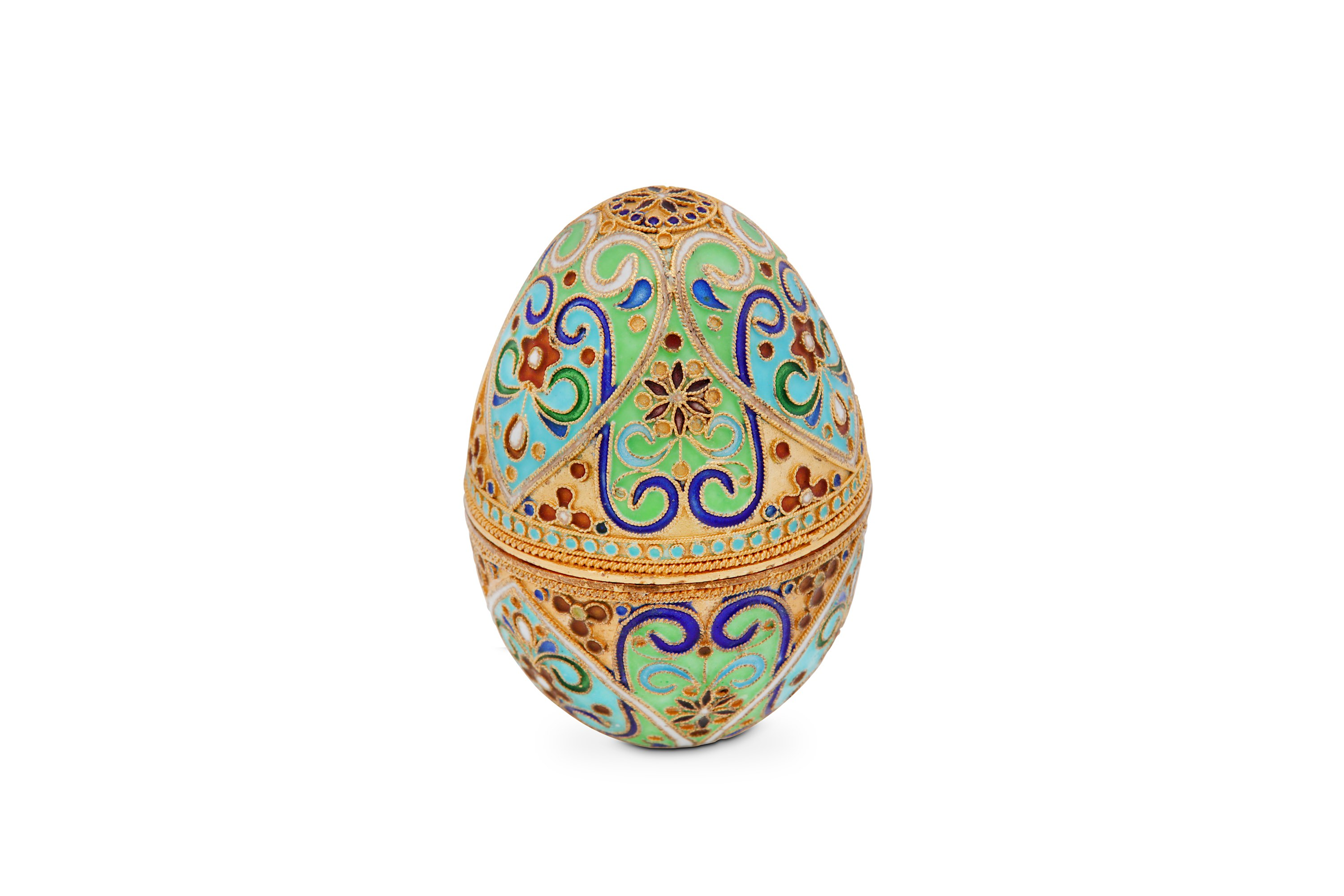 Lot 35 - A Modern Russian 84 zolotnik silver-gilt and enamel egg, St Petersburg