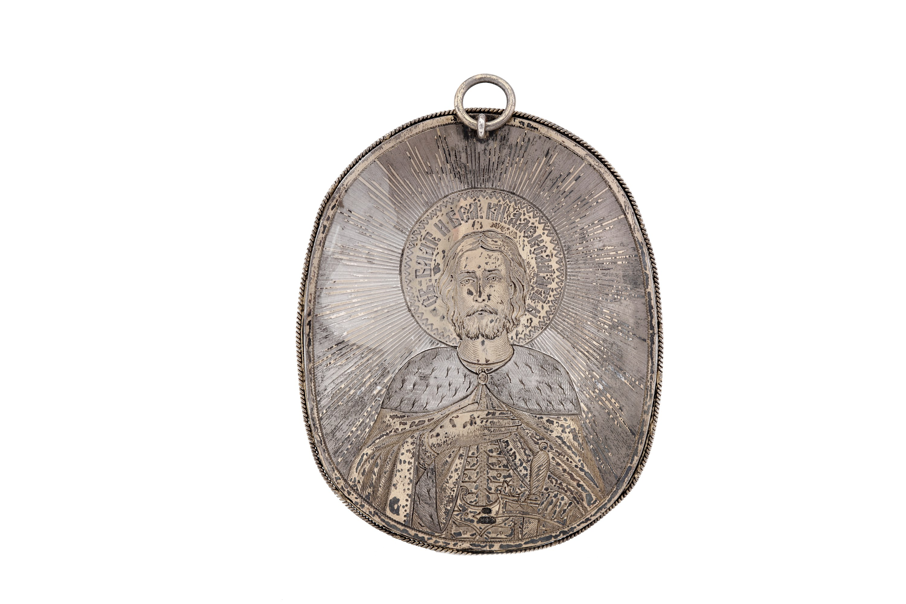Lot 35a - A late 19th century Russian 84 zolotnik silver and porcelain pendant, St Petersburg 1882-1899