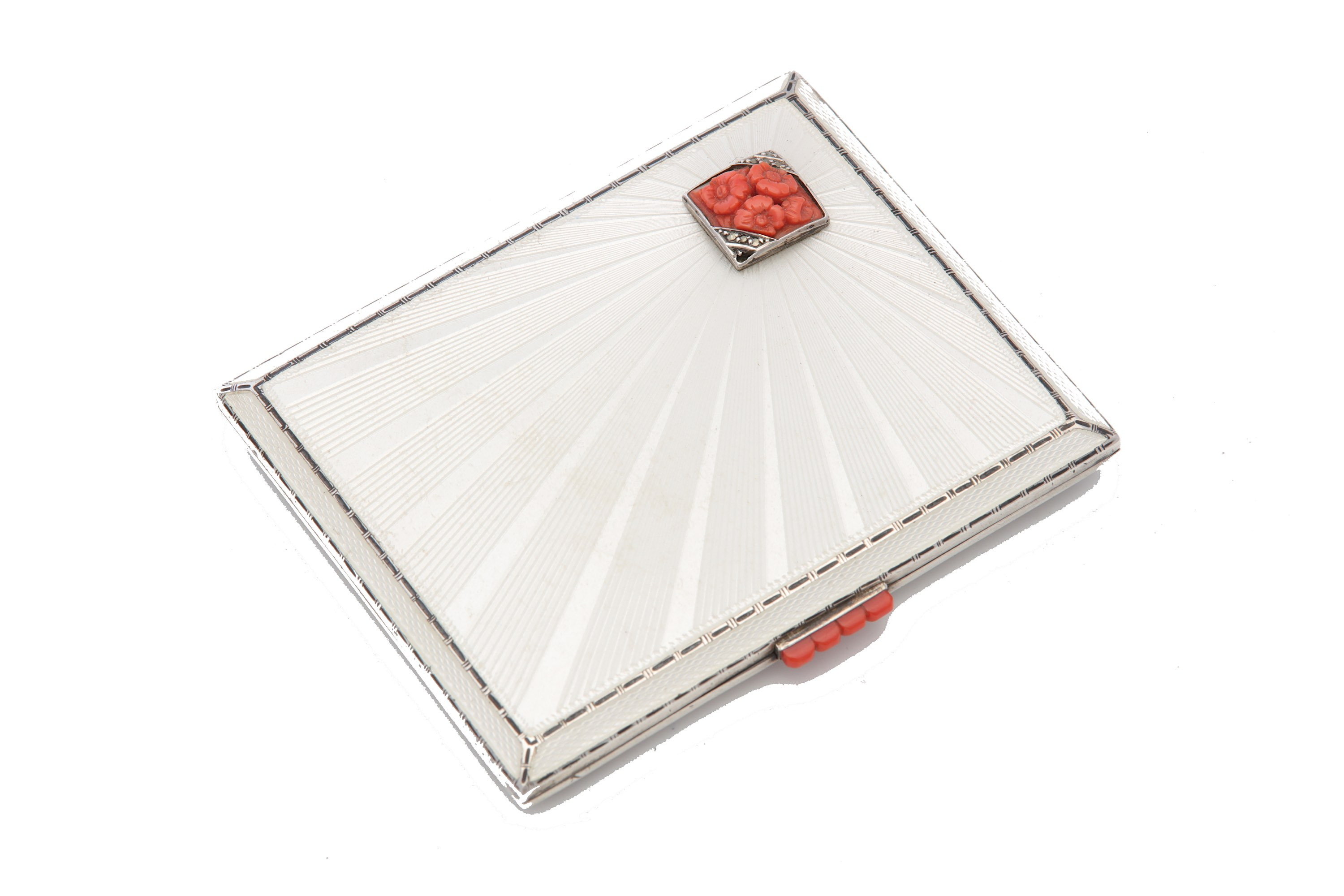 Lot 1 - A George V antique sterling silver guilloche enamel and coral cigarette case, Birmingham 1935 by Adi