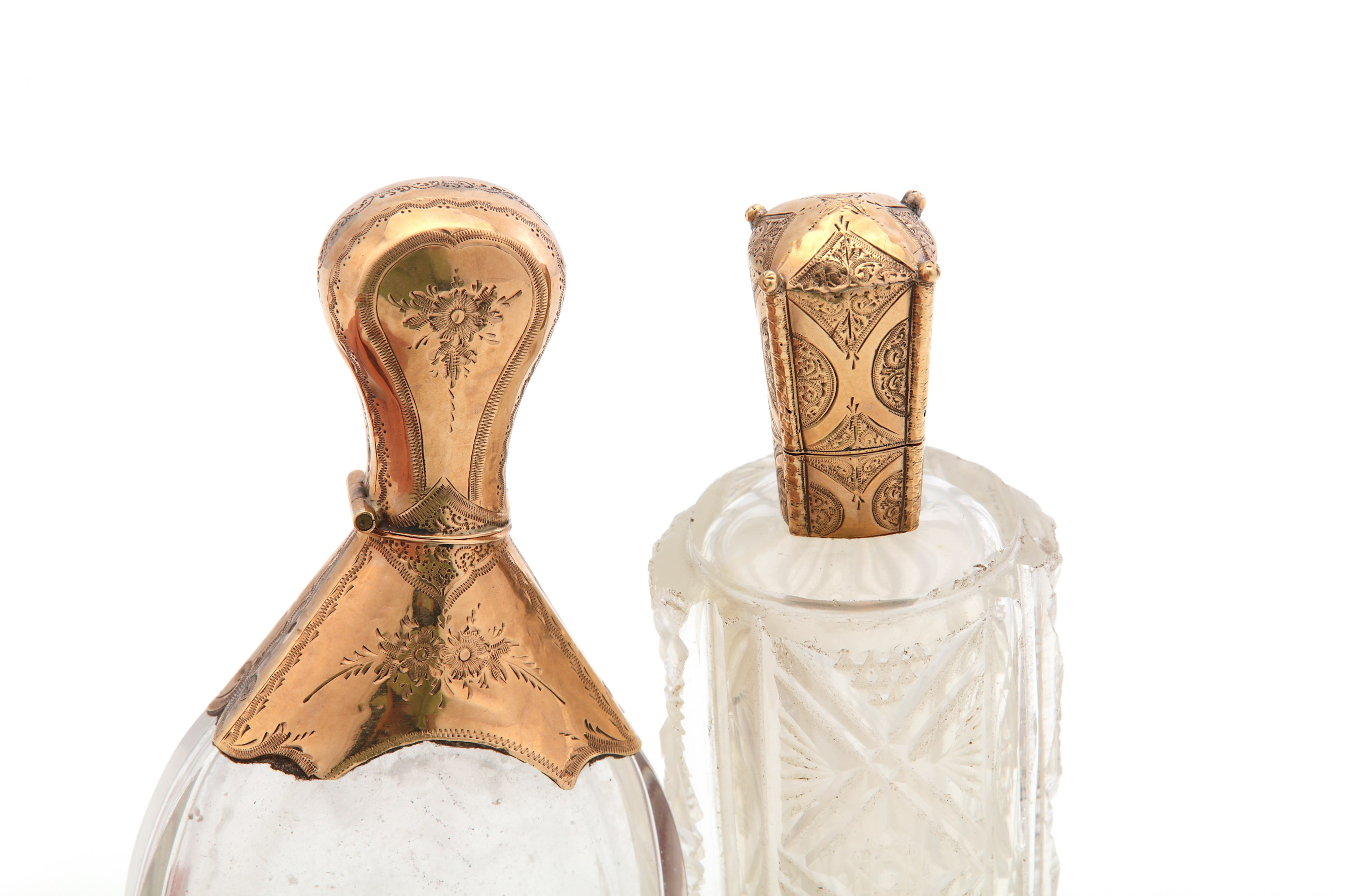 Lot 38 - Two 19th century Dutch 14 carat gold-mounted glass scent bottles, 1853-1906