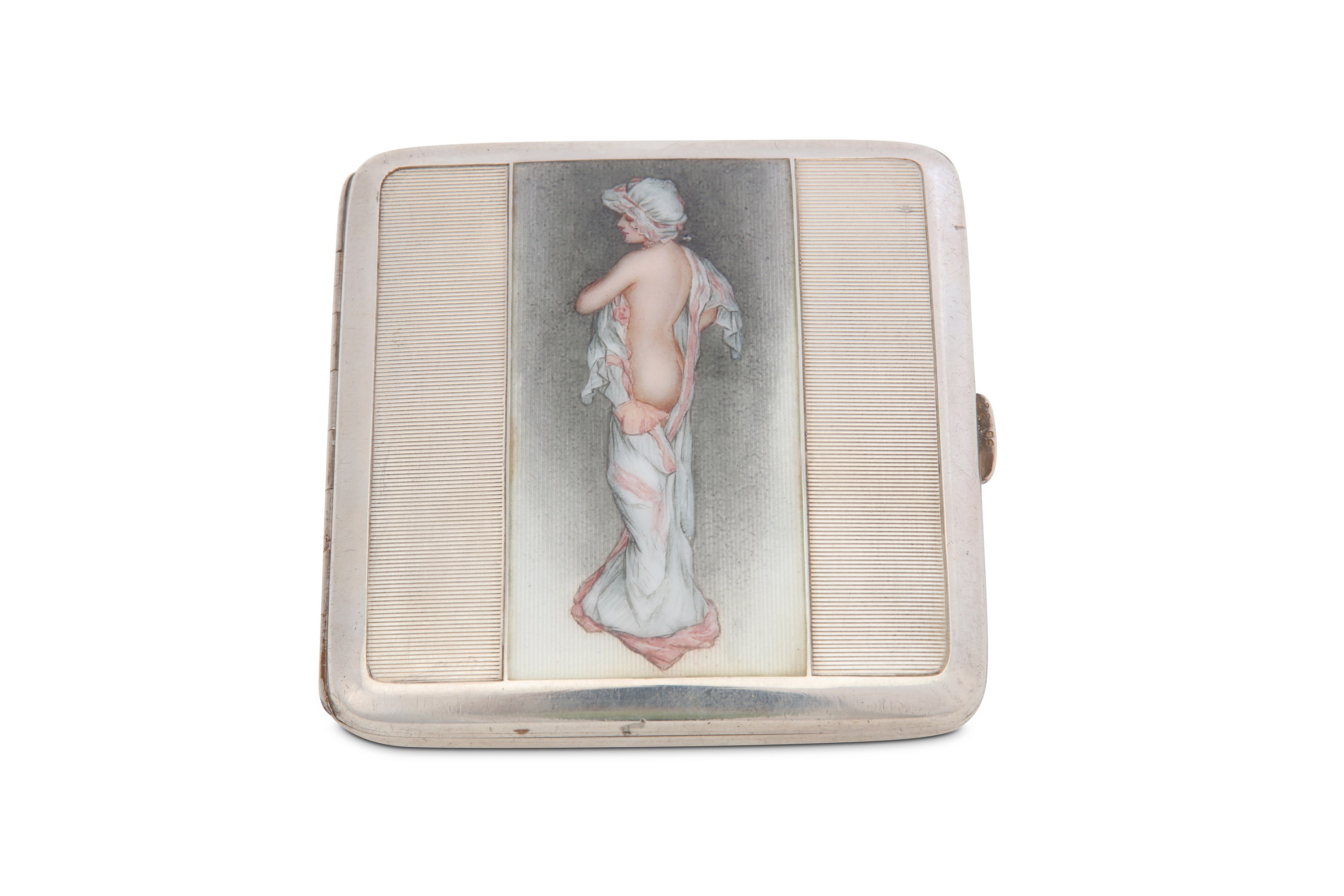 Lot 18 - An early 20th century Austrian Art Deco 900 standard silver and enamel cigarette case, Vienna circa