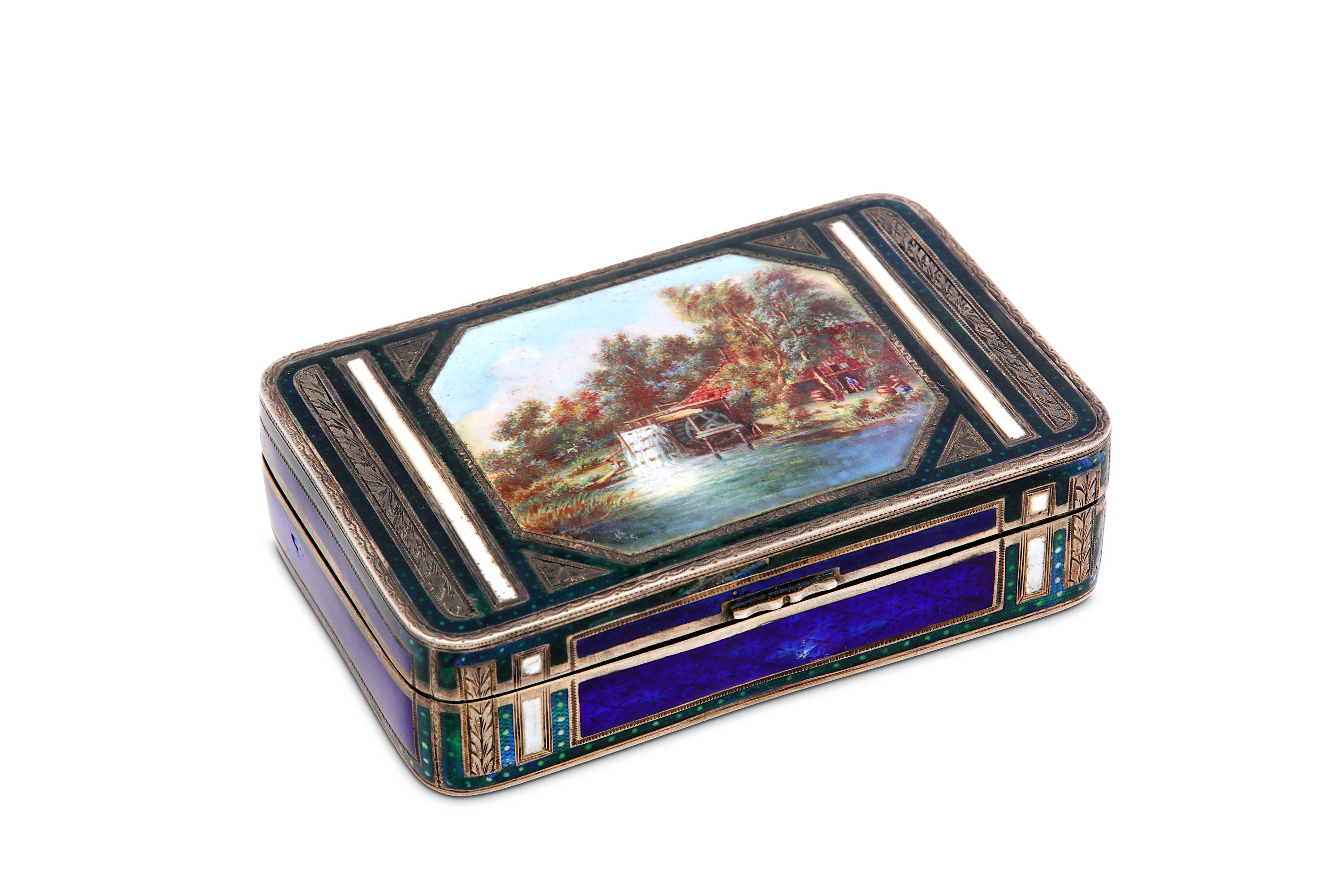 Lot 6 - An early 20th century German or Swiss 935 standard silver and guilloche enamel snuff box, circa 1910