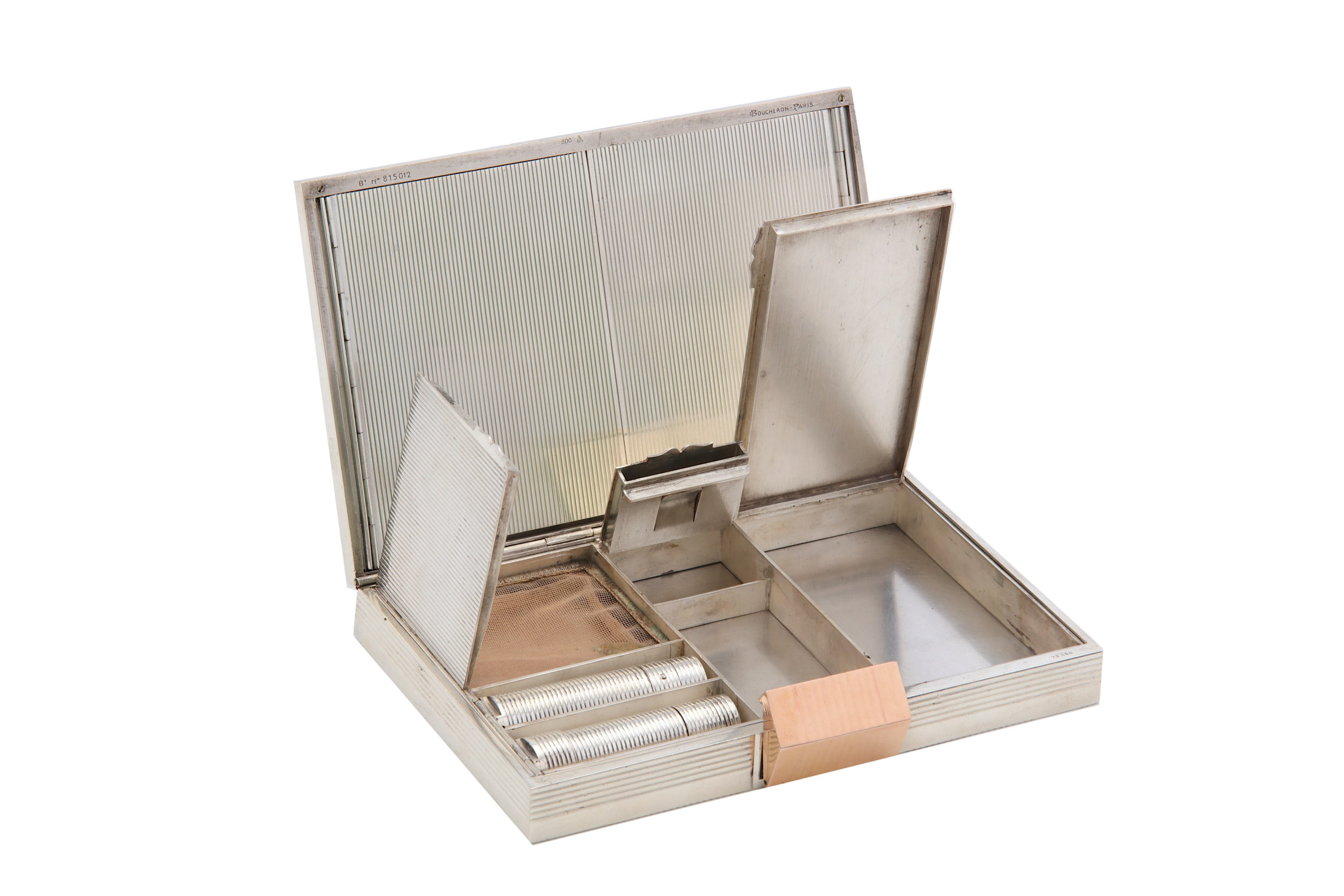 Lot 20 - A mid - 20th century French 800 standard silver and gold vanity case / minaudière, by Boucheron circ