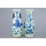 Two Chinese vases with blue and white design on celadon ground, 19th C. H.: 60 cm Condition