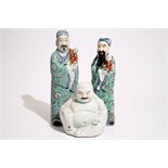 Two Chinese famille rose figures of immortals and a white-glazed model of Buddha, 19/20th C. H.: