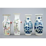 Four Chinese qianjiang cai and blue and white vases, 19/20th C. H.: 24 cm (the tallest) Condition