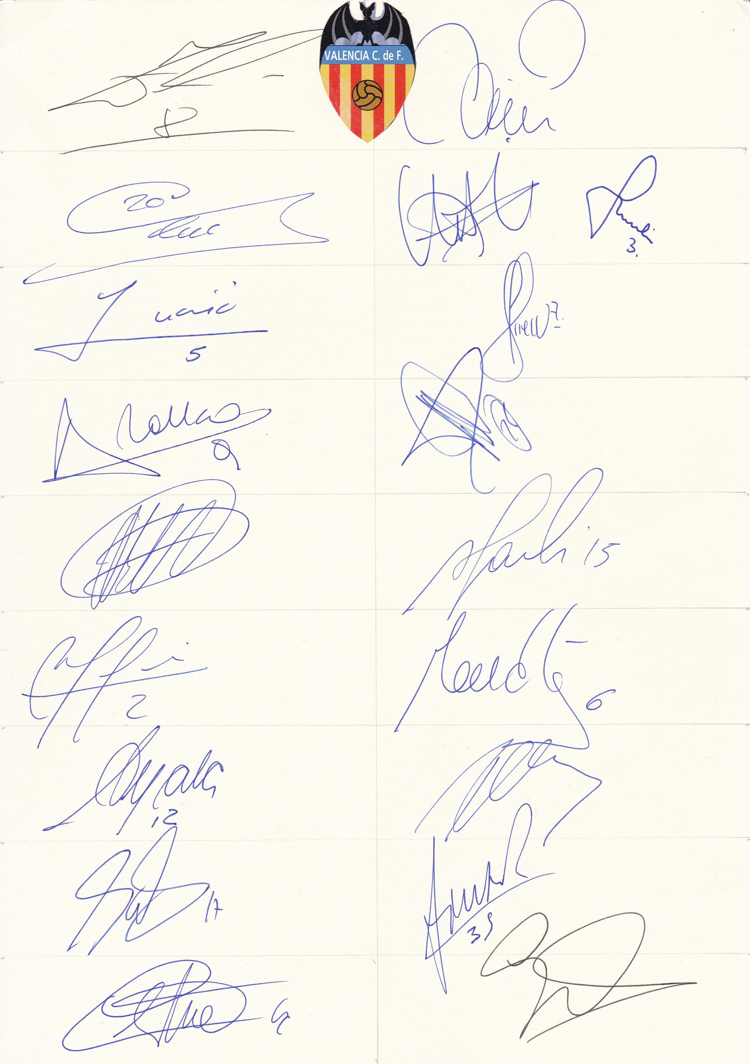 VALENCIA AUTOGRAPHS An A4 card with 19 signatures for season 2001 ...