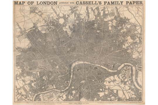 Peter Cassell Galpin 1862 Map of London Published with Cassells
