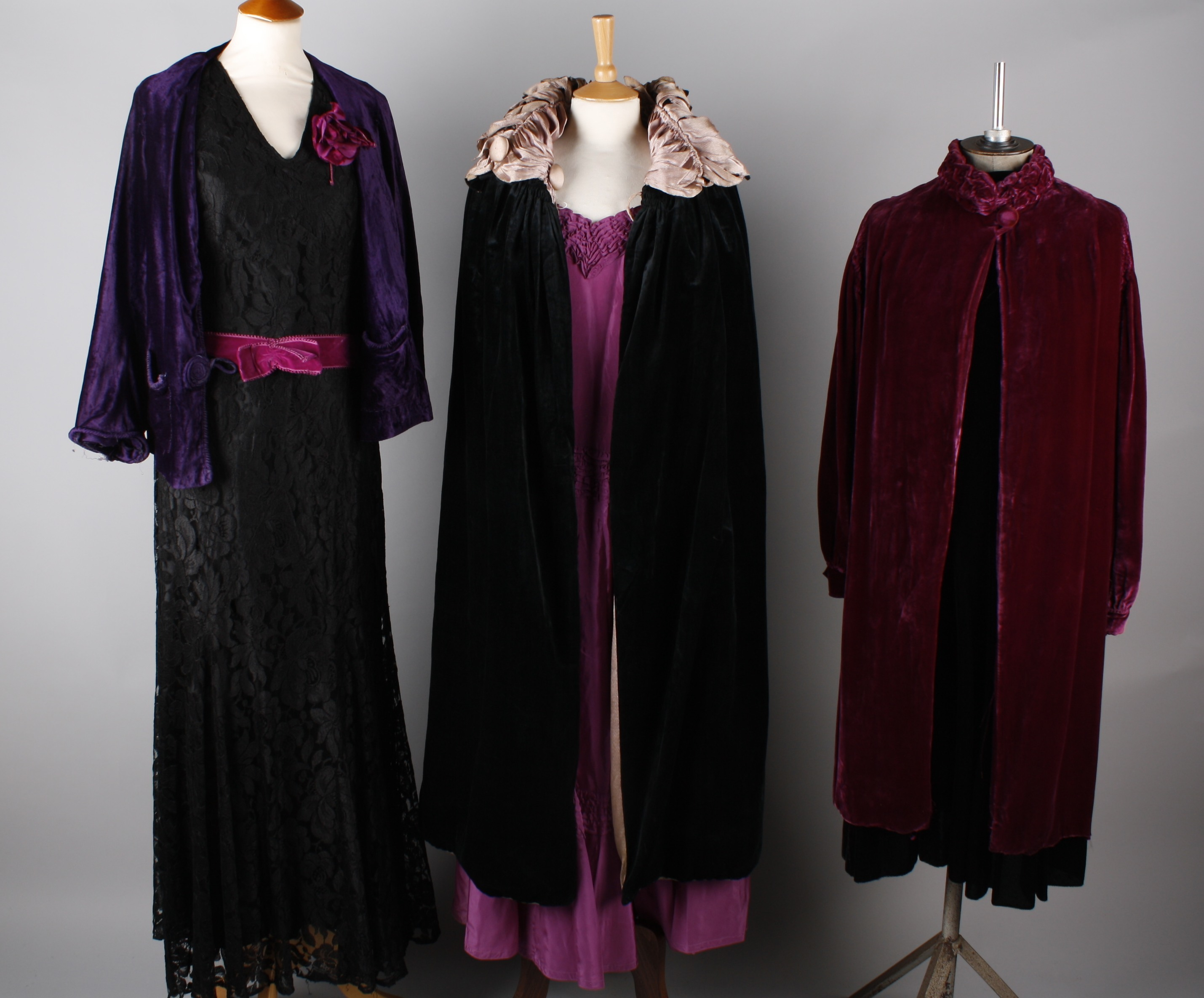 A 1930s black satin evening gown with black and cream cape to match ...