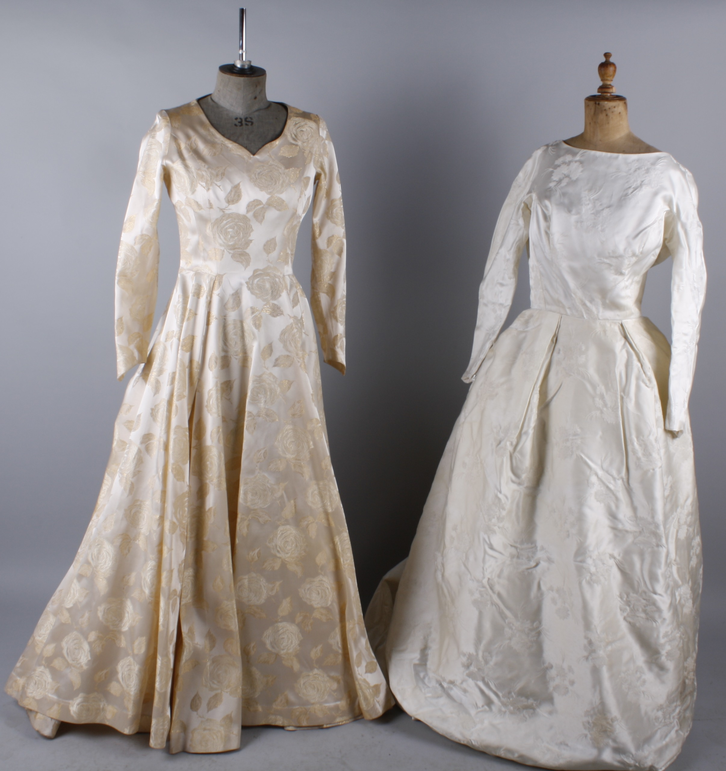 Lot 31 Six Vintage Wedding Dresses Comprising A Cream Brocade Late 1950s