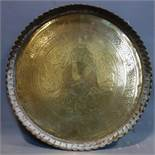 A mid to late 19th century finely chased Mamluk Persian brass plate, with calligraphy and