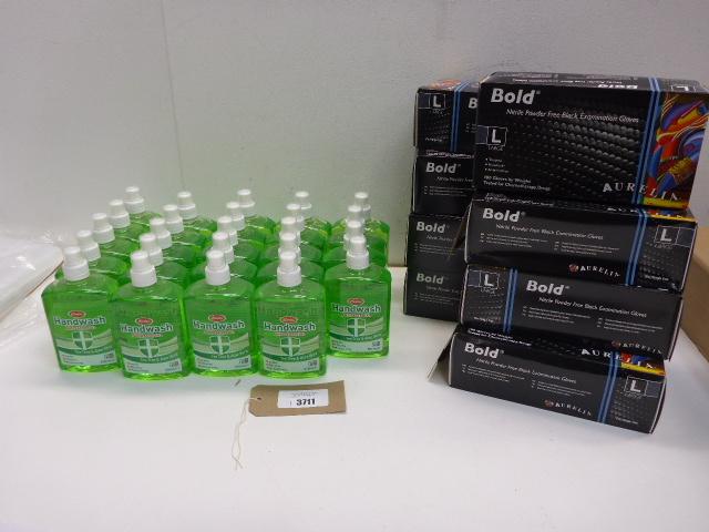 24 bottles Certex antibacterial hand wash and 8 packs of 100 Aurelia bold black examination gloves