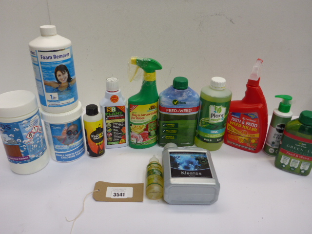 Chlorine tablets, foam remover, lawn feed, weed killer etc