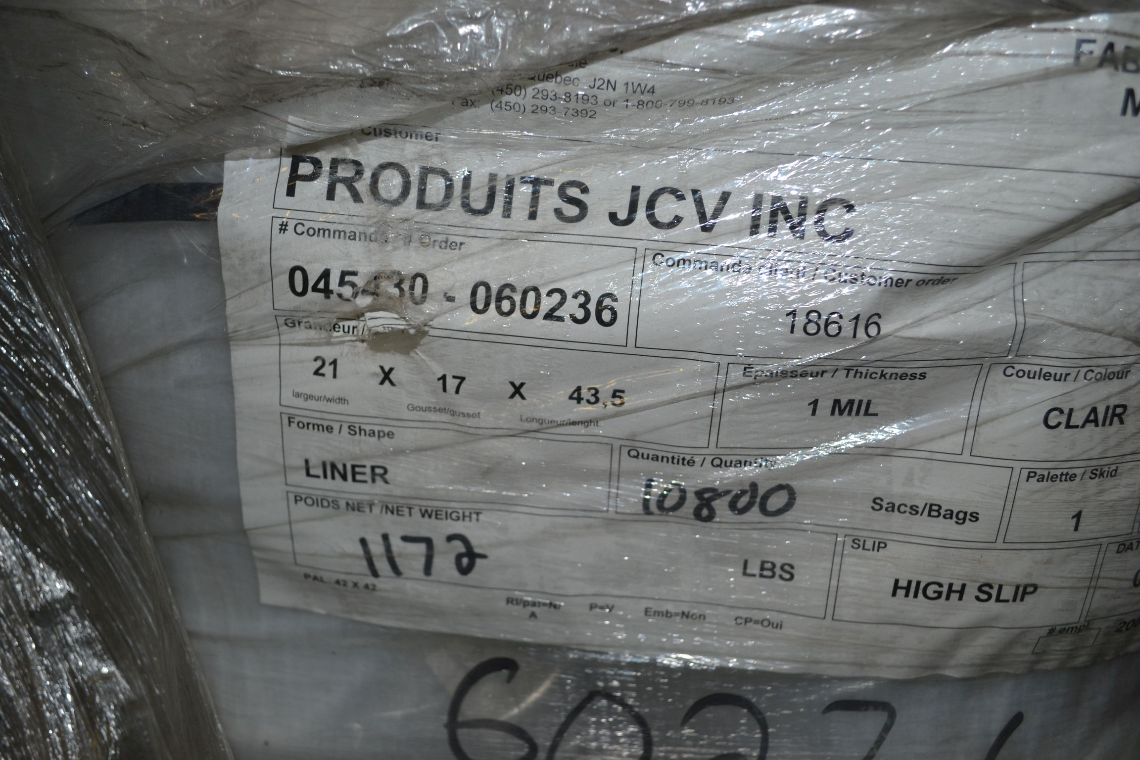 Lot 6 - Lot of Liner Bags, Clear Plastic