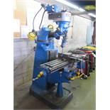 Bridgeport Cylindrical Ram Style Vertical Mill s/n 19923 w/ 1Hp Motor, 80-2720 RPM, 8-Speeds,