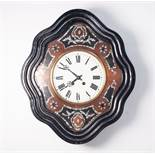 "NINETEENTH CENTURY CONTINENTAL INLAID WALNUT AND EBONISED WALL CLOCK, the 9 ¼"" Roman dial powered by"