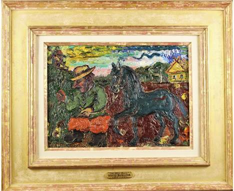"Attractive oil on board by David Burliuk, signed Burliuk in the lower left. It is titled ""The Blue Horse"" a  thick impasto on"