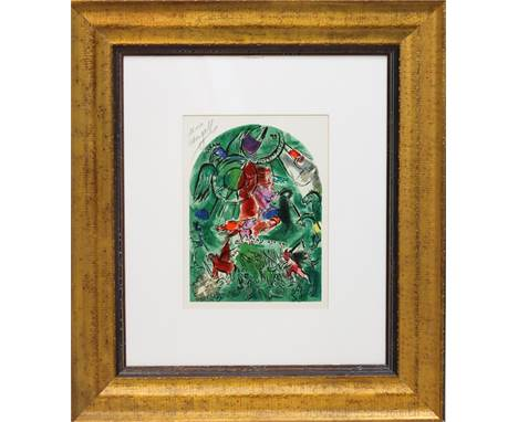 "This lithograph by Marc Chagall is titled ""The Tribe of Gad"" from his JerusalemWindows series published in 1964.Chagall was a"