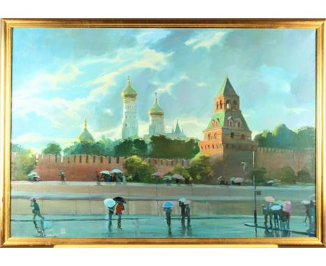 This is a painting by Vladimir Kush (b. 1965) signed in the lower left and dated (1988).  It is depicting a Moscow street sce