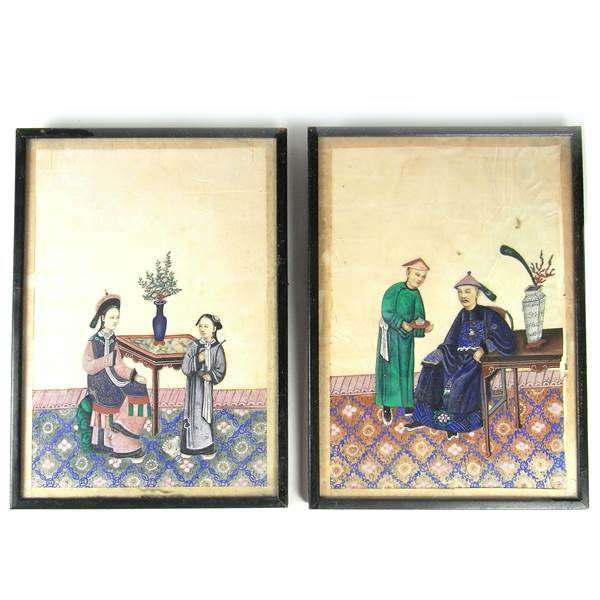 A pair of Chinese figural watercolour paintings, mid 19th century, Chinese school - Image 1